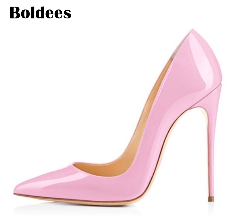 Discount Thin High Heel Shoes Woman Stilettos Pointed Toe Patent Leather Shoes 4.7 inch Plus Big Size 13 / 45 onlymaker women patent suede 12cm 4 7 inches thin high heel stilettos pointed toe plus big size 15 dress comfortable pumps shoes