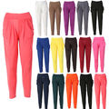 Natural Hot New Womens Fashion Casual Harem Baggy Dance Long Pants Solid Sweat Pants Flat Slacks