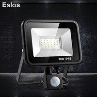 Eslas LED Flood światło na czujnik ruchu 10W 20W wodoodporny AC 220V LED reflektor projektor lampa reflektorowa zewnętrzna lampa uliczna w Reflektory od Lampy i oświetlenie na
