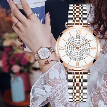 Gypsophila Diamond Design Women Watches Wrist Watch Relogios feminino Round Dial Stainless Steel Band Quartz Fashion Rose Gold fashion silicone band round mirror dial blue led light wrist watch black 1 x cr2016