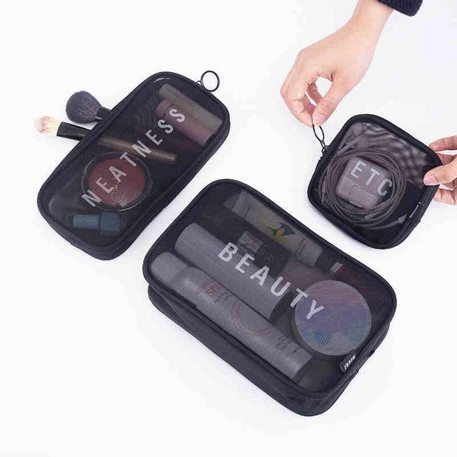 Женская дорожная косметичка на каждый день на молнии, прозрачная сумочка для косметики, Сумка Для Хранения Туалетных принадлежностей, набор для чистки косметичек