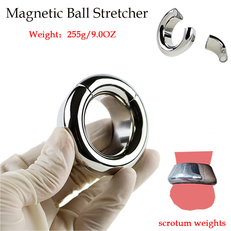 Metal Scrotum Stretcher Curve Magnetic Cock Ring 255g/9.0OZ Ball Weights Penis Rings For Men Sex Toys