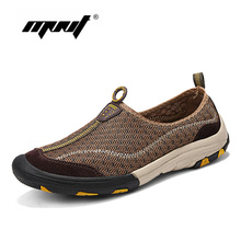 Купить с кэшбэком Summer Men Casual Shoes Breathable Mesh With Leather Men Shoes Comfortable Men Flats Sneakers Quality  Walking Shoes