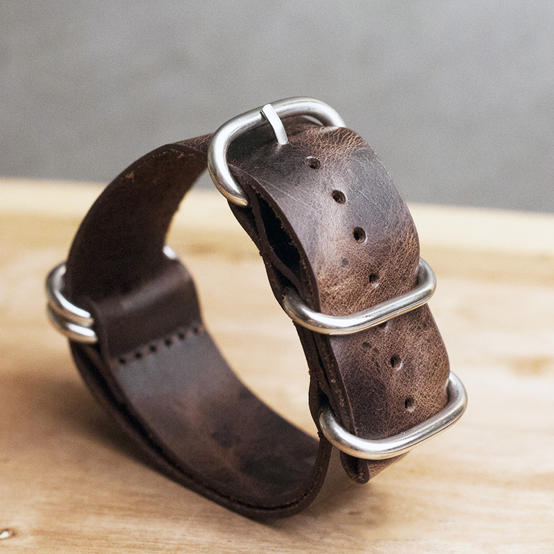 Onthelevel Leather Nato Strap 20mm 22mm 24mm Zulu Strap Vintage First Layer Cow Leather Watch Band With Five Rings Buckle #E