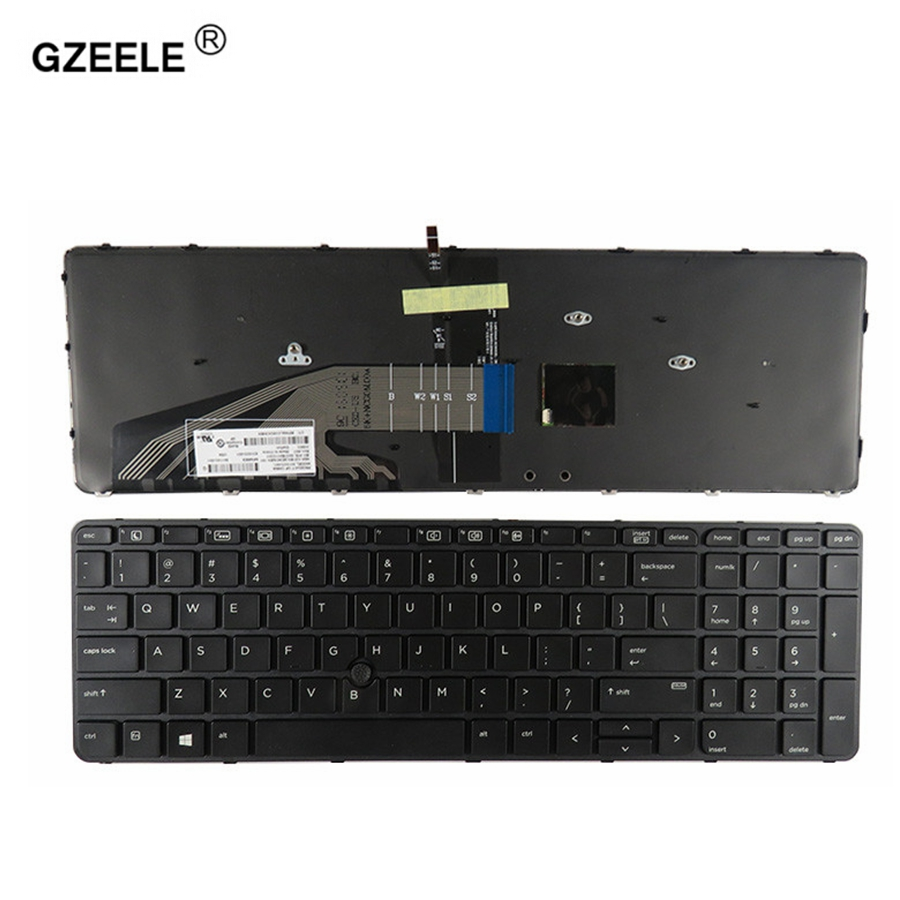 GZEELE New For HP Probook 650 G2 655 G2 US Black Laptop Keyboard With Backlit With Pointer Glossy Frame US Backlight