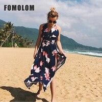 FOMOLOM Empire Sexy Spaghetti Strap Women Dress Summer Style Beach Printed Backless Ladies Fashion Sleeveless Dressess LY7712