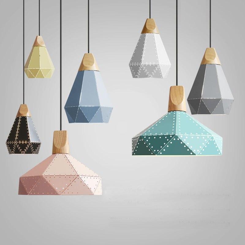 nordic loft houten scandinavische hanglamp voor slaapkamer keuken droplight moderne industrail iron lampenkap opknoping lamp armaturen in nordic loft houten