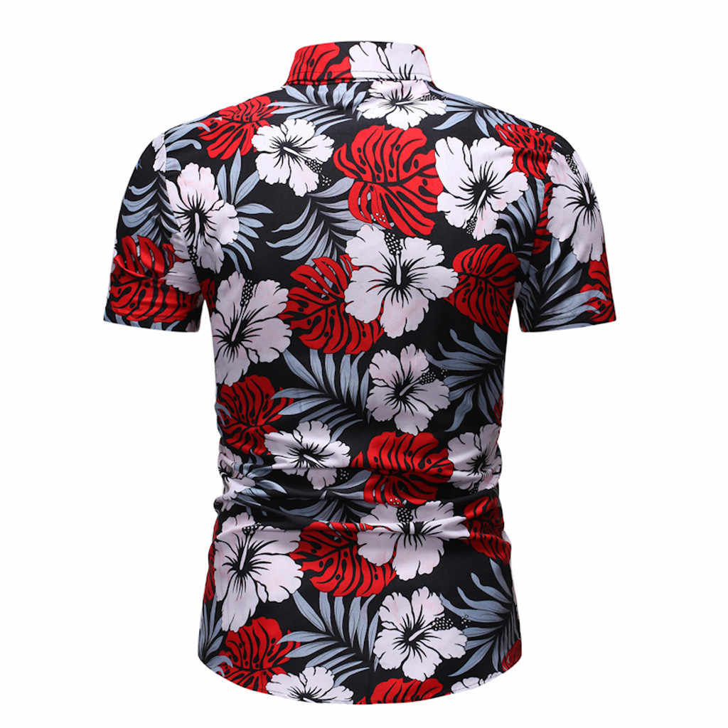 Floral Shirt Männer Hawaiian Drucken Kurz Shirt Sport Strand Schnell Trocken Bluse Top Männlichen playeras de hombre Neue herren kleidung camisa