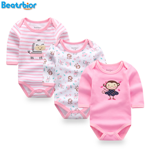 6233370a64ce Baby Girl Clothes 100% Cotton Baby Rompers for Newborn Boy Girl Long ...