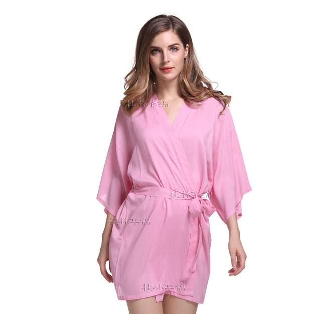 Sólido Rosa de Algodão Sleepwear Salão de Verão das Mulheres Novas do Estilo Curto Camisola Kimono Vestido Sexy Vestes De Casamento Das Noivas Vestir