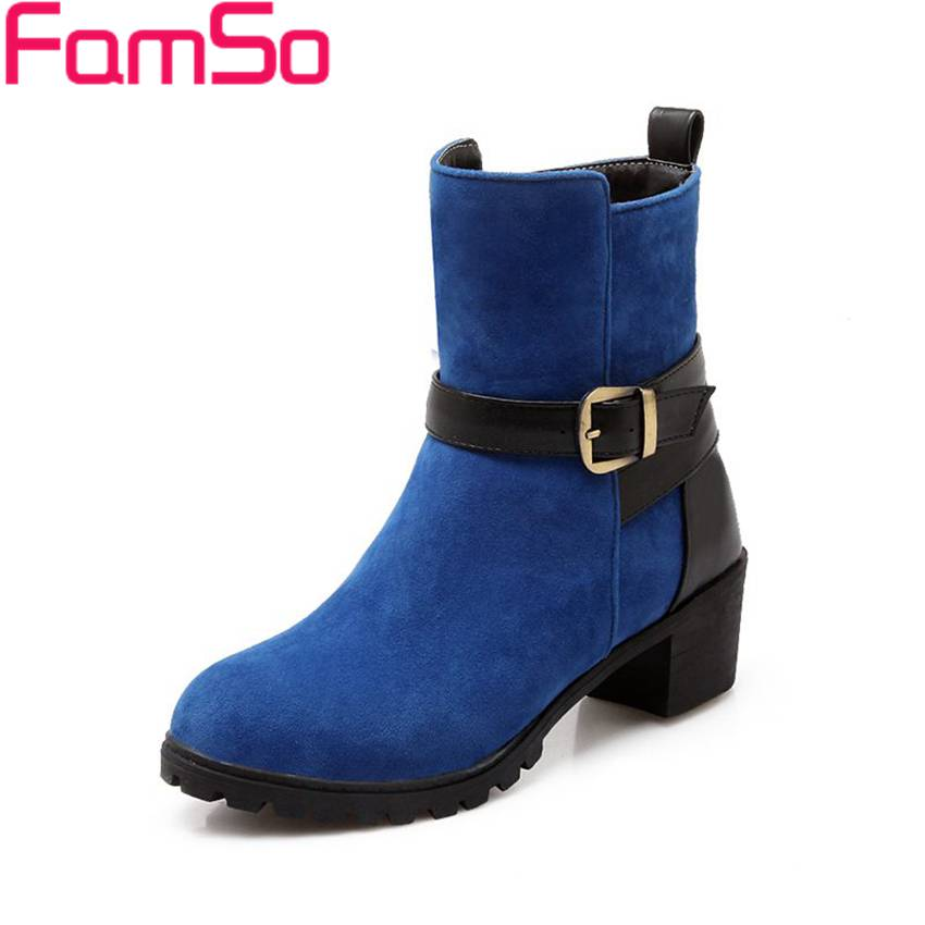 Plus Size34 43 2016 New Sexy font b Women b font Boots Buckle thick Heels Platforms
