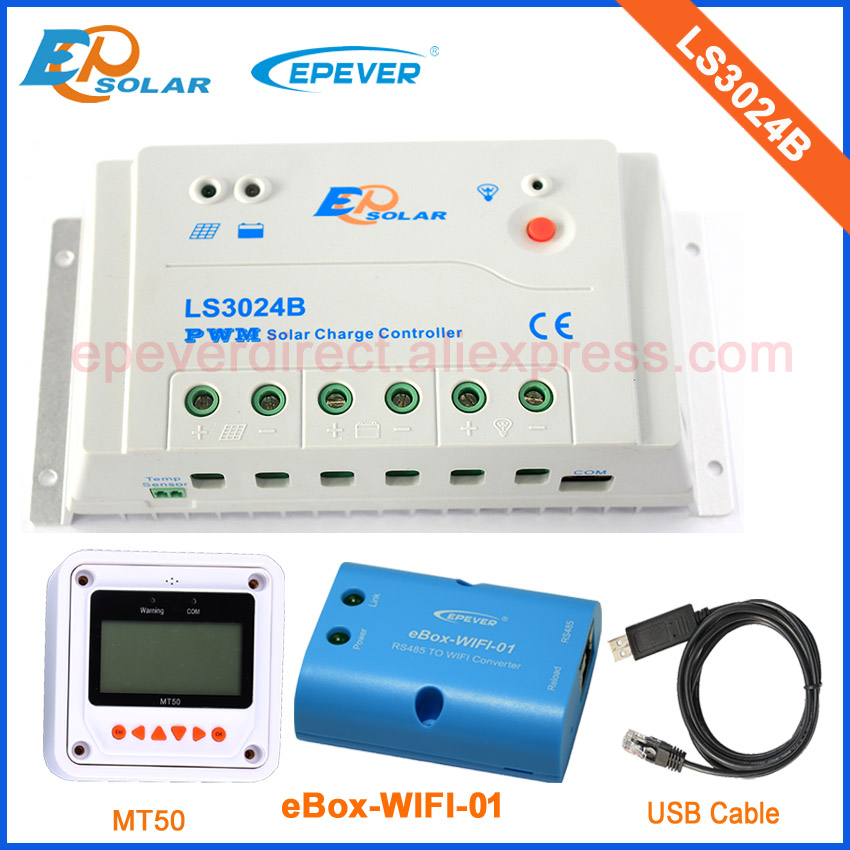 Solar system charge controller PWM EPEVER with USB cable and wifi connect for APP and PC+MT50 remote meter LS3024B 30A vs1024bn new pwm controller network access computer control can connect with mt50 for communication