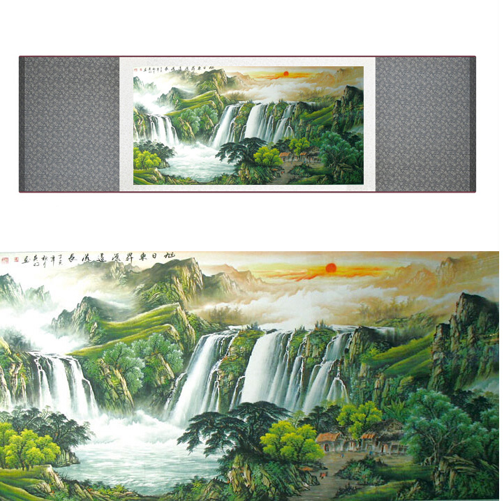 Mountain and River art painting Chinese traditional landscape mountain and river painting Chinese Wash painting