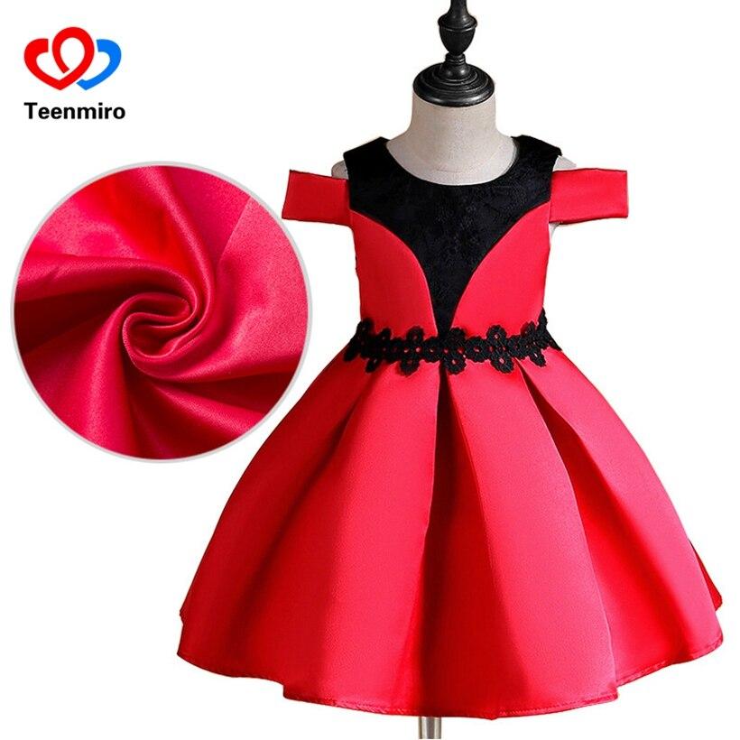 Flower Print Princess Dress for Girls Shoulderless Kids Perform Dresses Children Costumes Pink Fancy Frock Dress Teen Robe Fille