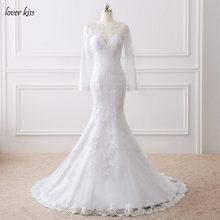 Lover Kiss Vestido De Noiva 2018 Spanish Long Sleeve Wedding Dresses  Transparent Back Lace Bridal Gown trouwjurk robe mariage f5e3f4c13dc6