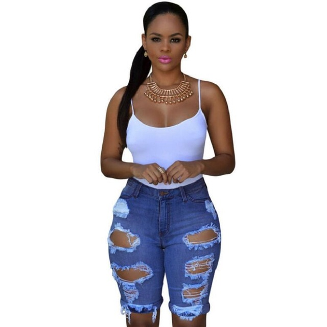 19f98a9b8c7 2019 Sexy Women V Neck Denim Slim Women Jeans Sleeveless Bodysuit Denim  Romper Hole Jean Tank Jumpsuit From Yelesley