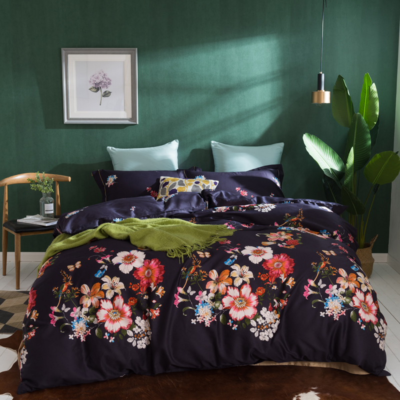 Colorful Flowers Bedding Set Queen King Size 4Pcs Egyptian Cotton Fabric Soft Bedlinens Flat Sheet Set Pillow CasesColorful Flowers Bedding Set Queen King Size 4Pcs Egyptian Cotton Fabric Soft Bedlinens Flat Sheet Set Pillow Cases