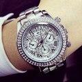 Дамы Моды Роскошь стали мужские Часы Кристалл Горный Хрусталь Reloj женщины Смотреть Игристые Сияющий Большой Циферблат Часы Наручные часы