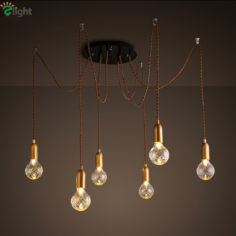 Modern Simple Glass DIY Led Chandeliers Lustre Copper Loft Bar Chandelier Lighting Rope Spider Hanging Lights Fixtures In From