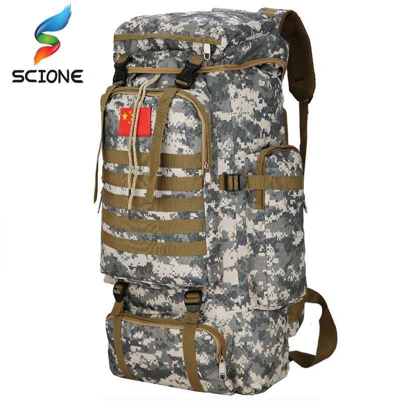 Large Capacity 70L Multifunction Sport Backpack Molle Tactical Bag Waterproof Camouflage Backpack for Outdoor Climbing Hiking 50l multifunction sport bag molle tactical bag water resistant camouflage backpack for outdoor climbing hiking camping 8 colors