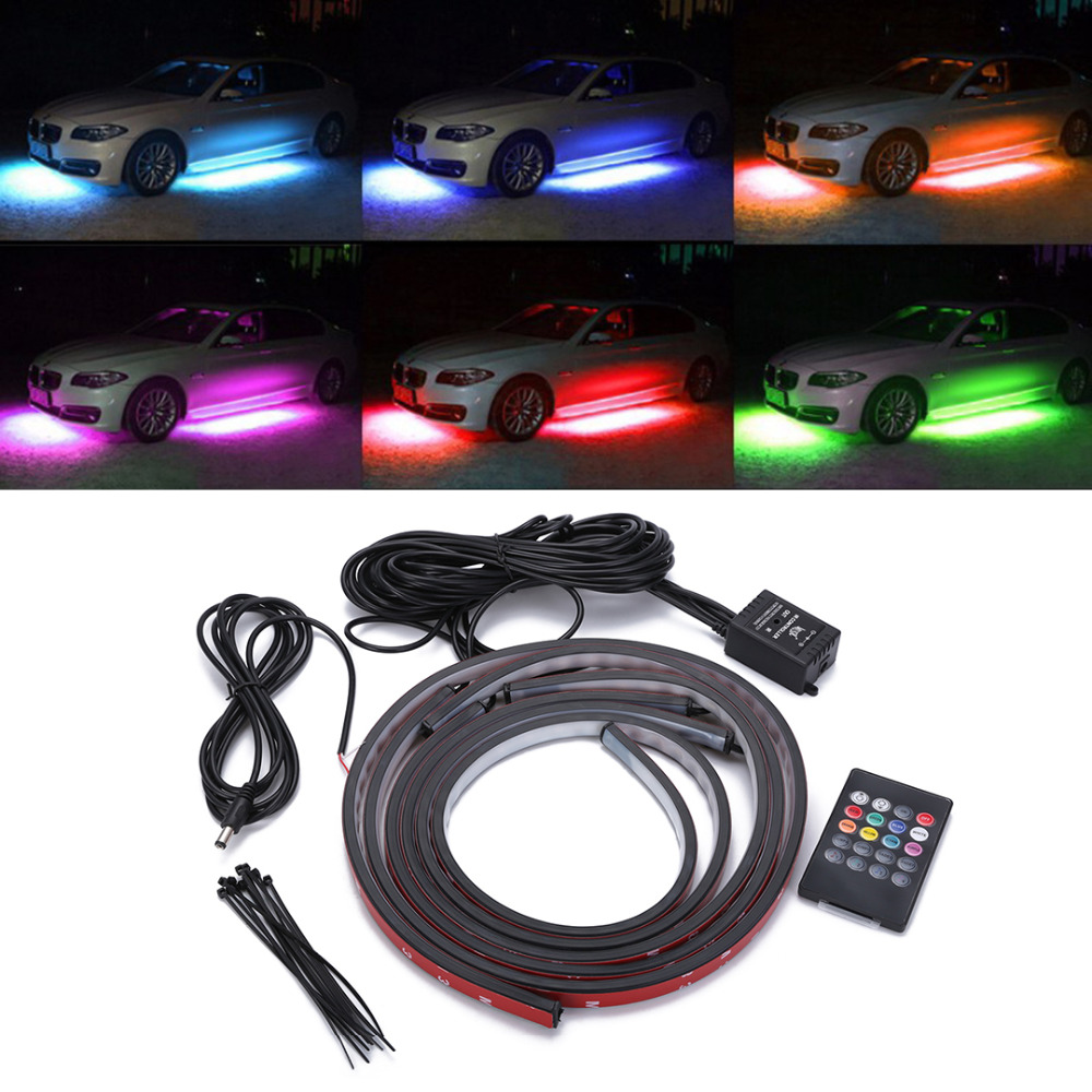 1 Set 4pcs Car RGB LED Strip Light Under Car Tube Underglow Underbody Neon Light System Kit Decorative Lamp With Wireless Remote decorative under car auto lamp colorful led light strip decoration