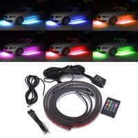 1 Set 4pcs Car RGB LED Strip Light Under Car Tube Underglow Underbody Neon Light System Kit Decorative Lamp With Wireless Remote