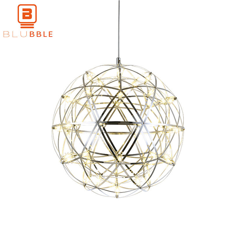 BLUBBLE Modern Spark Ball Pendant Lights fixture Firework Ball Pendant Lamp Stainless Steel AC 110 240V Loft Bedroom Hanlamp