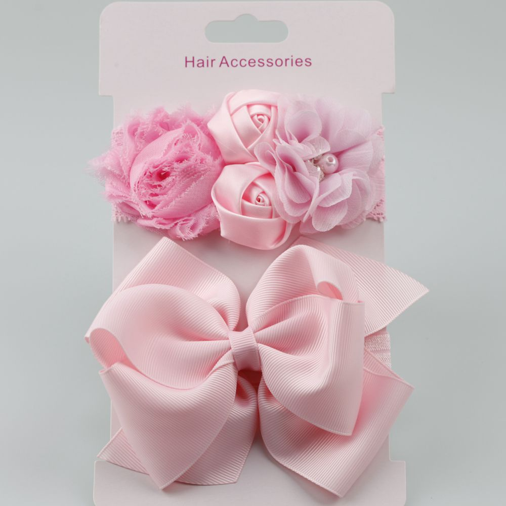 on sale 2pcs 2018 New Rose Lace hair band elastic double hair Bow flower Headband cute girls   headwear   children hair accessories