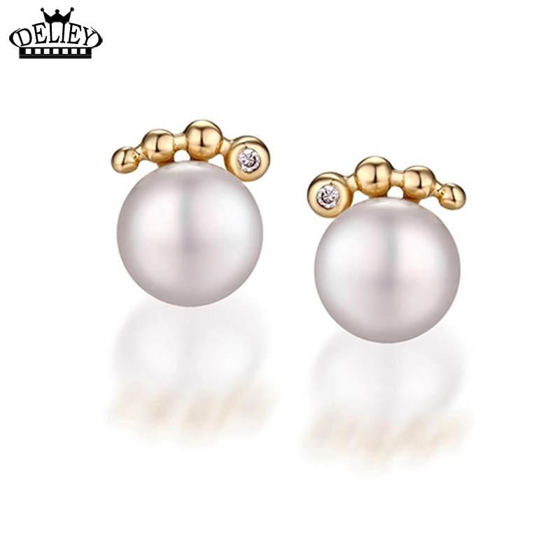 Buy DELIEY 100% Real 925 Sterling Silver 7*7.5mm Natural Freshwater Pearls Stud Earrings for Women Party Fine Jewelry