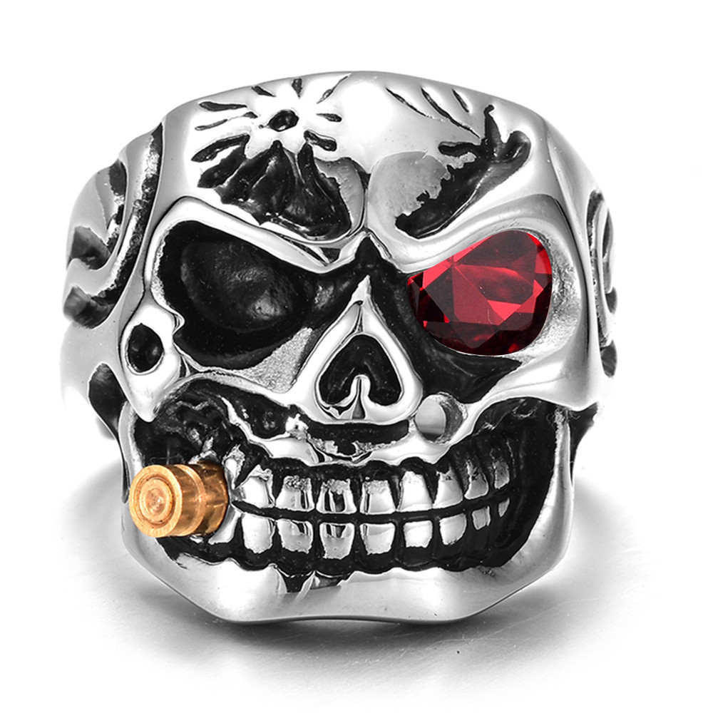 Qevila New Fashion Punk Domineering Smokes Skull Head Finger Ring For Men Knuckle Gothic Jewelry Silver Color Biker Rings Male (7)