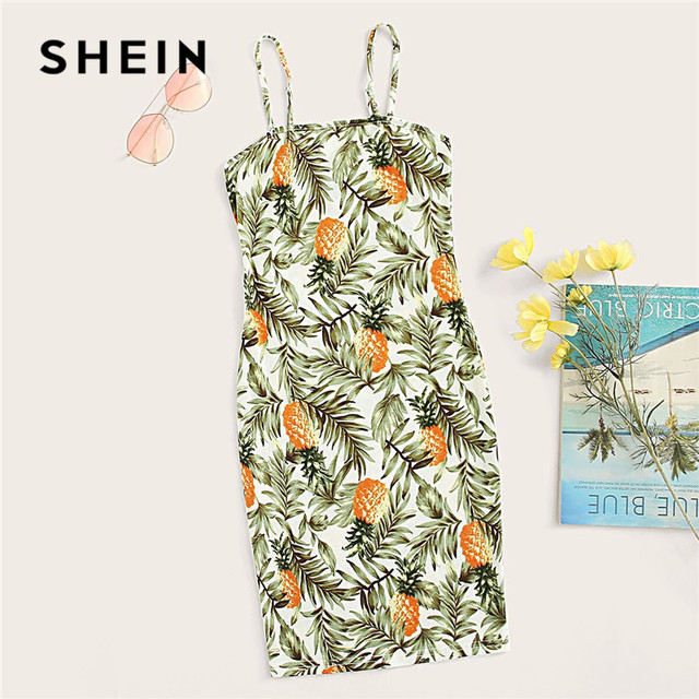 SHEIN Allover Pineapple Tropical Print Cami Dress Multicolor Sleeveless Sheath Mini Dresses Women Summer Vacation Beach Dress 5