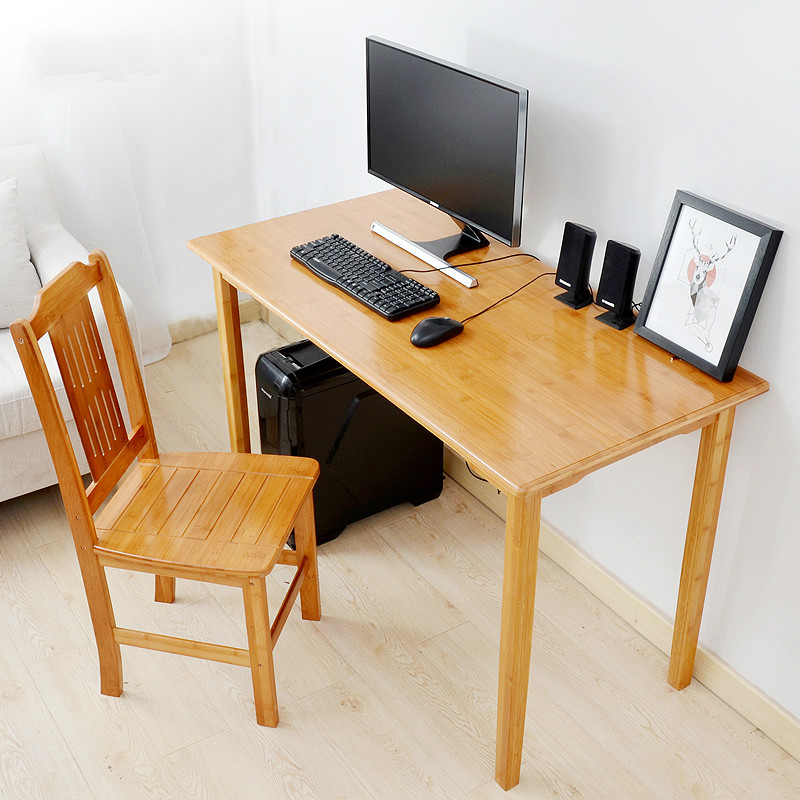Health and environmental protection wood computer desk simple modern desktop home office desk leisure table new bamboo garden style square table assembly square desk small learning healthy and environmental protection