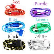 New Phone Charge Cables 1m Braided Fabric USB Data Sync Charger Cable Cord For iPhone 4/4S Mobile Phone Accessories & Parts