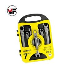 YOFE 7PCS/set Flexible Ratchet Spanner Combination wrench set ratchet handle tool ratchet skate tools Plastic frame spanner set