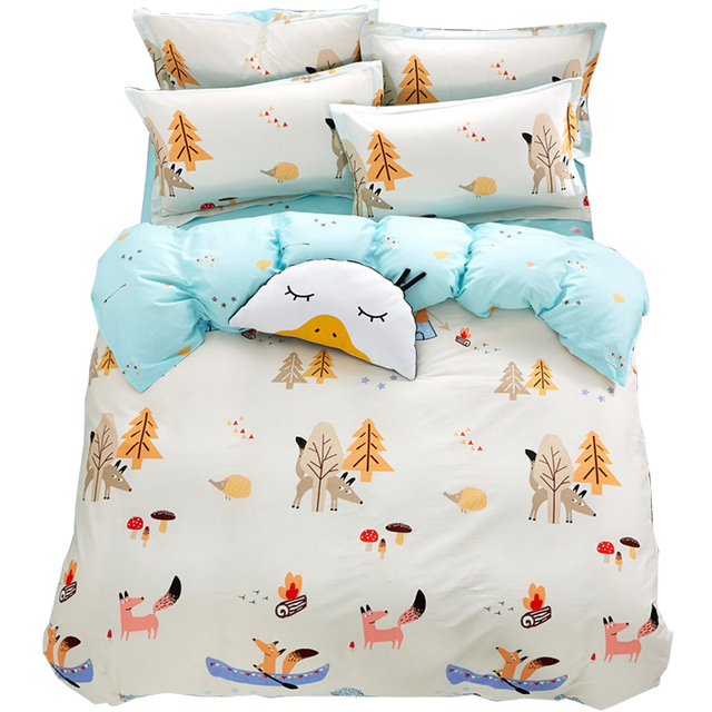 Papa Mima Fox Hedgehog Tree Cartoon Kids King Queen Us Twin Size Bedding Set 4pcs Cotton Duvet