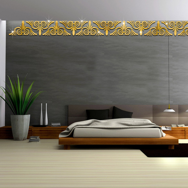 Funlife Stiker Satu Set Dua Cermin Pinggang Ruang Latar Belakang Hiasan Dinding Akrilik Decals