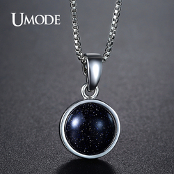 UMODE Brand Design New Fashion Charm Blue Fire Opal Link Chain Pendant Necklaces for Women Party Jewelry Collares Bijoux UN0276F