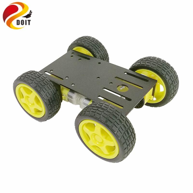 Debe 1 set 4WD coche RC inteligente chasis de Metal coche Robot educación modificación DIY modelo de tanque, demostración de enseñanza RC coche Control remoto coche rebote 2,4G coche saltador con rotación de rueda Flexible LED luces nocturnas RC Robot coche para juguete de regalo para niño