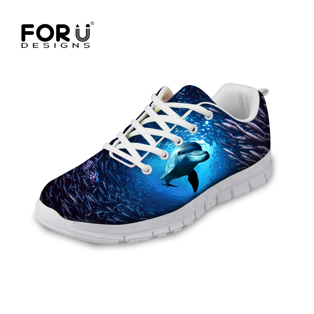 ФОТО FORUDESIGNS 3D Underwater Animal Men Causal Shoes Cool Dolphin Printing Lace-up Flats Shoes For Man Student Chaussure Hombre