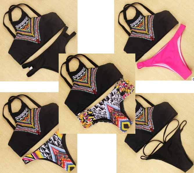 2016 New Floral Printed Sexy Women Bikini Biquni High Neck Push Up Padded Swimwear Swimsuit Bathing Beachwear