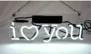 I Love You Glass Neon Light Sign