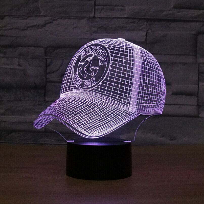 LED 3D NFL Boston RED SOX Football Helmet Night Light Touch 7 Colors Desk Lamp Changing USB Table lamps For Children Gifts Toys