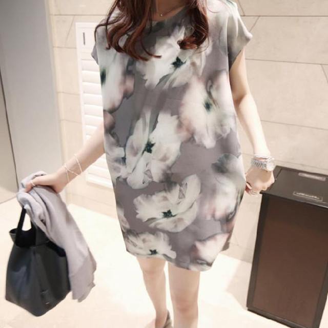 Korean fashion maternity dress fashion ink printing large size women dresses pregnant women dress  summer pregnancy clothes