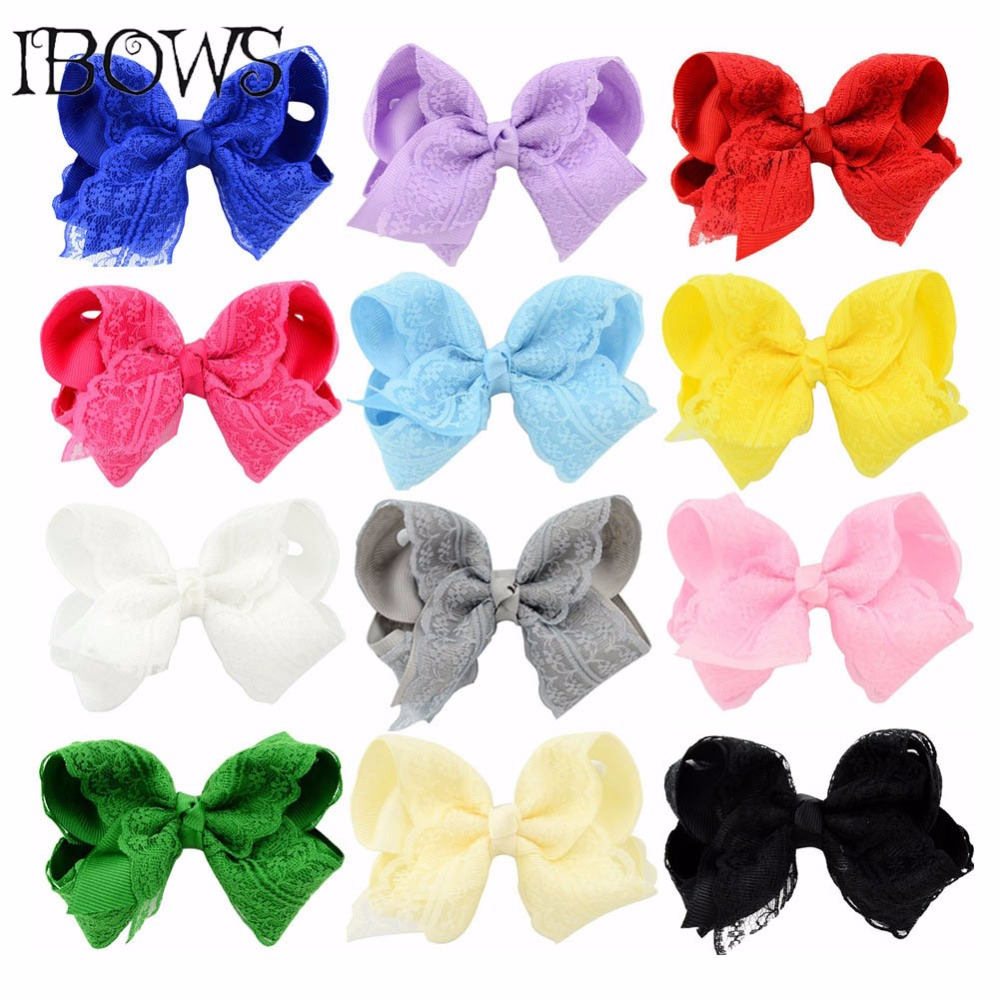 3Pcs/Lot 4 Inch Lace Hairbow With Safety Clips Grosgrain Ribbon Hair Bows Hairpins For Kids Girls Boutique Hair Accessories 2pcs lot printed crown hair bows layered grosgrain ribbon hairbow for kids girls hairgrips handmade hair accessories