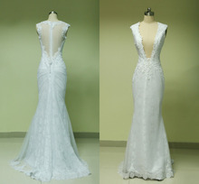 2015 New Arrival Real Sample Wedding Dress Mermaid Deep V-neck Sexy Bridal Gown Appliques Lace vestido de noiva Free Ship CH-589