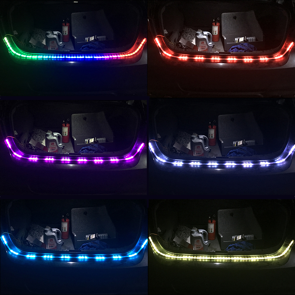 Free Shipping Car Styling RGB Led Trunk Luggage Strip Light LED Floating Dynamic Streamer Turn Signal Lamp Additional Stop Light in Decorative Lamp from Automobiles Motorcycles