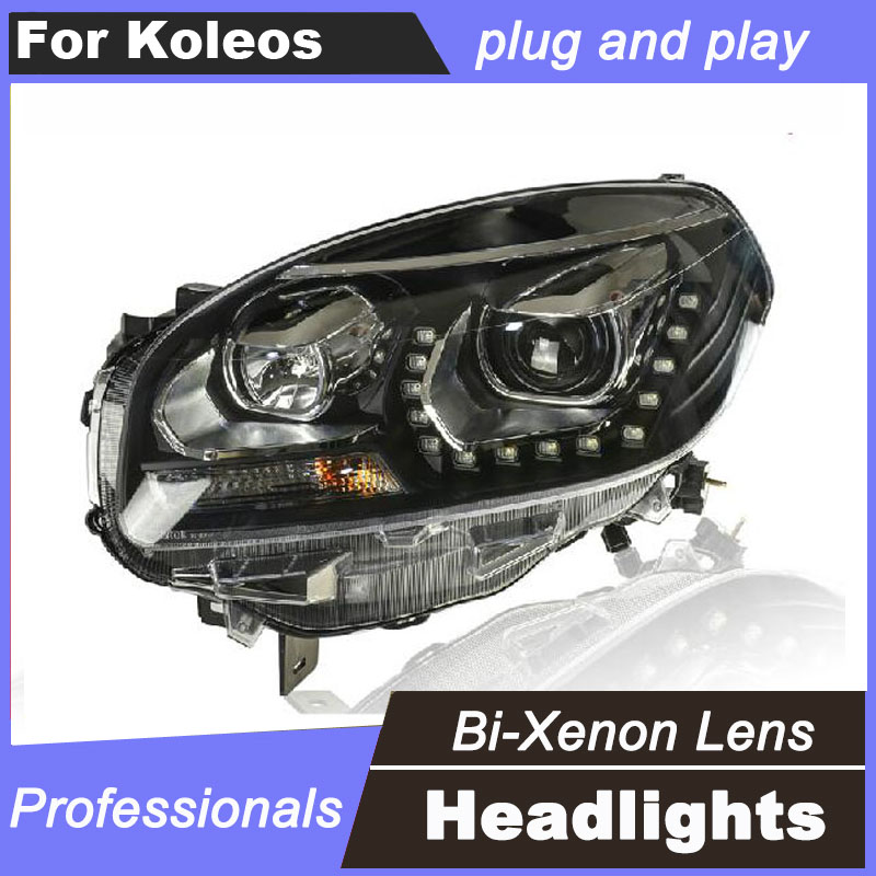 2Pcs For Renault Koleos 2012-2016 Headlights Angel eye LED DRL Front Light Bi-Xenon Projector Lens xenon HID Headlights for renault koleos hy