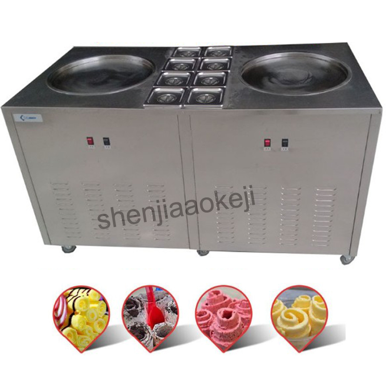 Commercial Thai Fried Roll Machine Fried ice cream roll Machine Fried ice cream machine Fried Ice Cream Equipment 220v3.2kw 1pc free shiping fried ice cream machine 75 35cm big pan with 5 buckets fried ice machine r22 ice pan machine ice cream machine