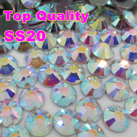 No1 Grade AAAAA SS20 4.6 to 4.8mm Clear Crystal AB Luxury Rhinestones Hot Fix Strass Flatback Nail Hotfix Stone For Bridal Shoes
