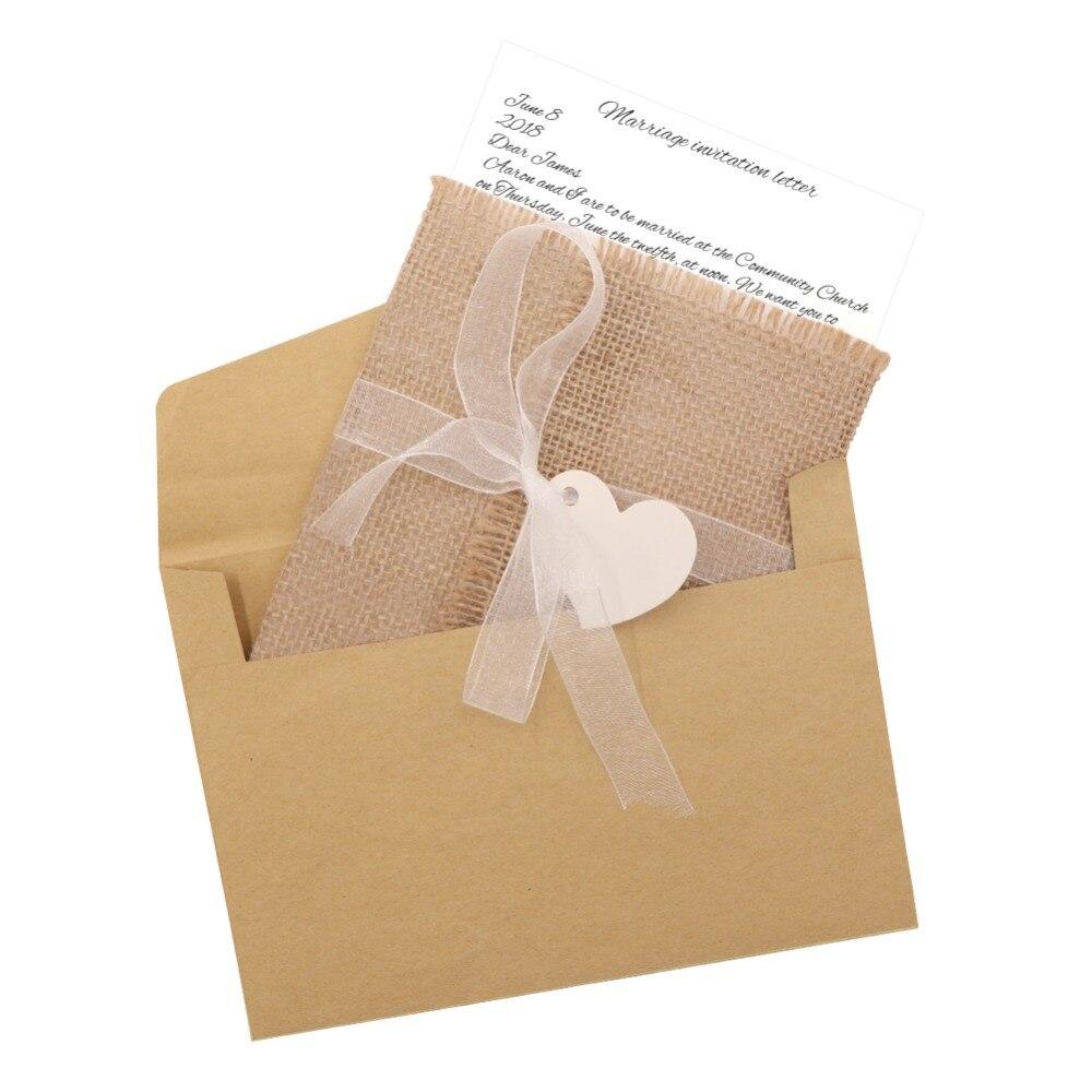 OurWarm 50 pièces Invitations De Mariage Papier Carte Vierge Coeur Dentelle Jute Enveloppe Cadeaux Cadeaux Pour Les Invités De Mariage Décoration-in Cartes et invitations from Maison & Animalerie    3